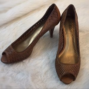 Brown Peep Toe Pumps KATE & KELLY Sz 7.5 ADORABLE